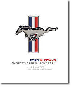 Front cover of book in white Ford Mustang - America's Original Pony Car with Ford Mustang Logo in the center
