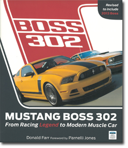 Front cover of Mustang Boss 302 book with side by side yellow and orange Mustangs